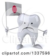 Clipart Of A 3d Unhappy Tooth Character Holding A Japanese Flag And Giving A Thumb Down Royalty Free Illustration