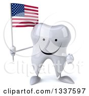Clipart Of A 3d Happy Tooth Character Holding And Pointing To An American Flag Royalty Free Illustration