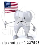 Clipart Of A 3d Unhappy Tooth Character Holding An American Flag Royalty Free Illustration