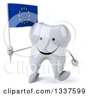 Clipart Of A 3d Happy Tooth Character Holding A European Flag And Walking Royalty Free Illustration