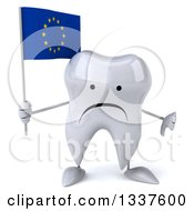 Clipart Of A 3d Unhappy Tooth Character Holding A European Flag And Giving A Thumb Down Royalty Free Illustration