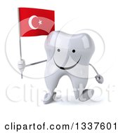 Clipart Of A 3d Happy Tooth Character Holding A Turkish Flag And Walking Royalty Free Illustration