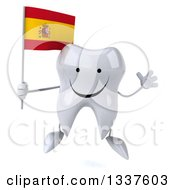 Clipart Of A 3d Happy Tooth Character Holding A Spanish Flag And Jumping Royalty Free Illustration