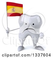 Clipart Of A 3d Unhappy Tooth Character Holding And Pointing To A Spanish Flag Royalty Free Illustration