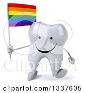 Clipart Of A 3d Happy Tooth Character Holding A Rainbow Flag And Walking Royalty Free Illustration