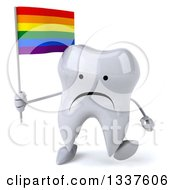 Clipart Of A 3d Unhappy Tooth Character Holding A Rainbow Flag And Walking Royalty Free Illustration