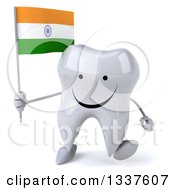Clipart Of A 3d Happy Tooth Character Holding An Indian Flag And Walking Royalty Free Illustration