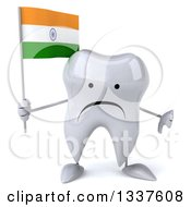 Clipart Of A 3d Unhappy Tooth Character Holding An Indian Flag And Giving A Thumb Down Royalty Free Illustration