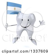 Clipart Of A 3d Happy Tooth Character Holding An Argentine Flag And Jumping Royalty Free Illustration