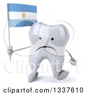 Clipart Of A 3d Unhappy Tooth Character Holding An Argentine Flag And Walking Royalty Free Illustration