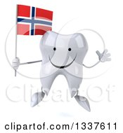 Clipart Of A 3d Happy Tooth Character Holding A Norwegian Flag And Jumping Royalty Free Illustration