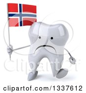 Clipart Of A 3d Unhappy Tooth Character Holding A Norwegian Flag And Walking Royalty Free Illustration