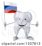 Clipart Of A 3d Happy Tooth Character Holding A Russian Flag And Giving A Thumb Up Royalty Free Illustration