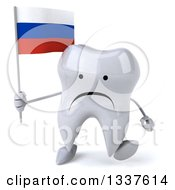 Clipart Of A 3d Unhappy Tooth Character Holding A Russian Flag And Walking Royalty Free Illustration