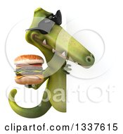 Clipart Of A 3d Green Dinosaur Wearing Sunglasses Holding A Double Cheeseburger And Looking Around A Sign Royalty Free Illustration