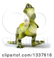 Clipart Of A 3d Green Dinosaur Walking Slightly To The Right And Holding A Waffle Ice Cream Cone Royalty Free Illustration