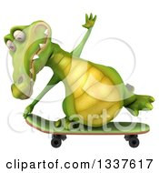 Clipart Of A 3d Crocodile Skateboarding Royalty Free Illustration by Julos