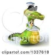 Clipart Of A 3d Sailor Crocodile Wearing Sunglasses Walking To The Left And Holding A Waffle Ice Cream Cone Royalty Free Illustration by Julos
