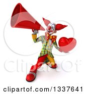 Clipart Of A 3d Funky Clown Holding A Red Love Heart And Announcing Up To The Left With A Megaphone Royalty Free Illustration