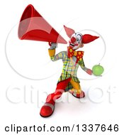Clipart Of A 3d Funky Clown Holding A Green Apple And Announcing Upwards With A Megaphone Royalty Free Illustration