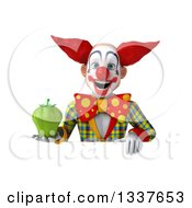Clipart Of A 3d Funky Clown Holding A Green Bell Pepper Over A Sign Royalty Free Illustration