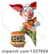 Clipart Of A 3d Funky Clown Holding A Double Cheeseburger Around A Sign Royalty Free Illustration