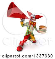 Clipart Of A 3d Funky Clown Holding A Double Cheeseburger And Announcing Upwards With A Megaphone Royalty Free Illustration