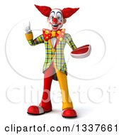Clipart Of A 3d Funky Clown Holding Up A Finger And A Beef Steak Royalty Free Illustration