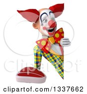 Clipart Of A 3d Funky Clown Holding A Beef Steak And Looking Around A Sign Royalty Free Illustration