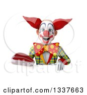 Clipart Of A 3d Funky Clown Holding A Beef Steak Over A Sign Royalty Free Illustration