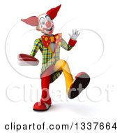Clipart Of A 3d Funky Clown Holding A Beef Steak Dancing And Waving Royalty Free Illustration