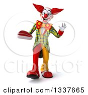 Clipart Of A 3d Funky Clown Holding A Beef Steak Walking And Waving Royalty Free Illustration