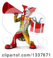 Clipart Of A 3d Funky Clown Holding A Gift And Announcing To The Left With A Megaphone Royalty Free Illustration