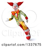 Clipart Of A 3d Funky Clown Flying And Presenting Royalty Free Illustration