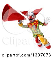 Clipart Of A 3d Funky Clown Announcing With A Megaphone And Flying Royalty Free Illustration