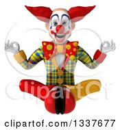Clipart Of A 3d Funky Clown Meditating Royalty Free Illustration