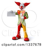 Clipart Of A 3d Funky Clown Holding And Pointing To An Envelope Royalty Free Illustration