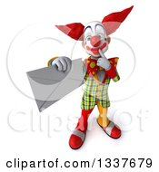 Clipart Of A 3d Funky Clown Thinking And Holding Up An Envelope Royalty Free Illustration
