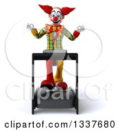 Clipart Of A 3d Funky Clown Meditating And Walking On A Treadmill Royalty Free Illustration