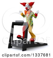 Clipart Of A 3d Funky Clown Facing Left Meditating And Walking On A Treadmill Royalty Free Illustration