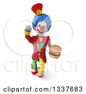 Clipart Of A 3d Colorful Clown Holding A Double Cheeseburger And Flying Royalty Free Illustration