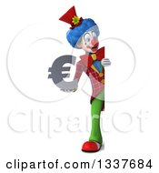 Clipart Of A 3d Full Length Colorful Clown Holding A Euro Currency Symbol And Looking Around A Sign Royalty Free Illustration