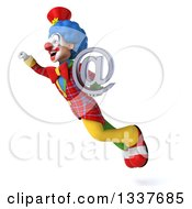 Clipart Of A 3d Colorful Clown Holding An Email Arobase At Symbol And Flying Up To The Left Royalty Free Illustration