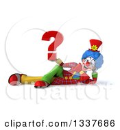 Clipart Of A 3d Colorful Clown Holding A Question Mark And Resting On His Side Royalty Free Illustration