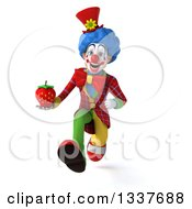 Clipart Of A 3d Colorful Clown Holding A Strawberry And Sprinting Royalty Free Illustration