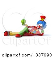Clipart Of A 3d Colorful Clown Holding A Green Bell Pepper And Resting On His Side Royalty Free Illustration