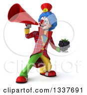 Clipart Of A 3d Colorful Clown Holding A Blackberry And Using A Megaphone Royalty Free Illustration