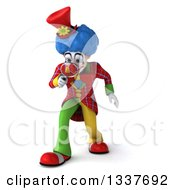 Clipart Of A 3d Colorful Clown Looking Down And Searching With A Magnifying Glass Royalty Free Illustration