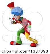 Clipart Of A 3d Colorful Clown Facing Left Looking Down And Searching With A Magnifying Glass Royalty Free Illustration