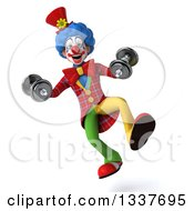 Clipart Of A 3d Colorful Clown Working Out Jumping With Dumbbells Royalty Free Illustration